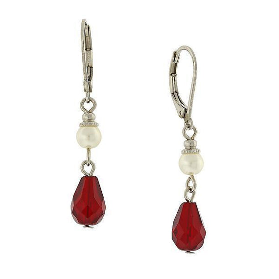 Silver Tone Simulated Pearl and Red Crystal Drop Earrings.