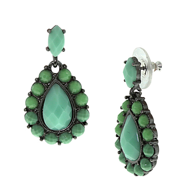 Black Tone Turquoise Color Pearshape Faceted Drop Earrings
