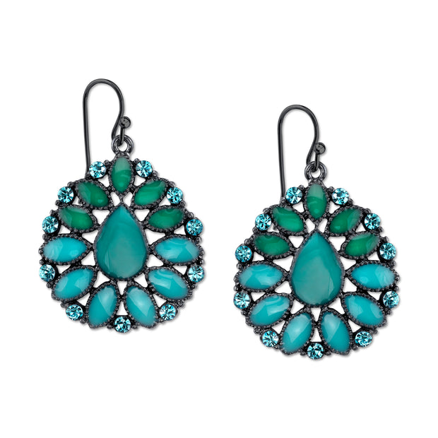 Black Tone Turquoise Drop Earrings