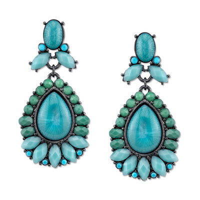Black-Tone Turquoise Color Pearshape Drop Earrings