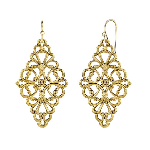 1928 Jewelry Filigree Diamond Drop Earrings