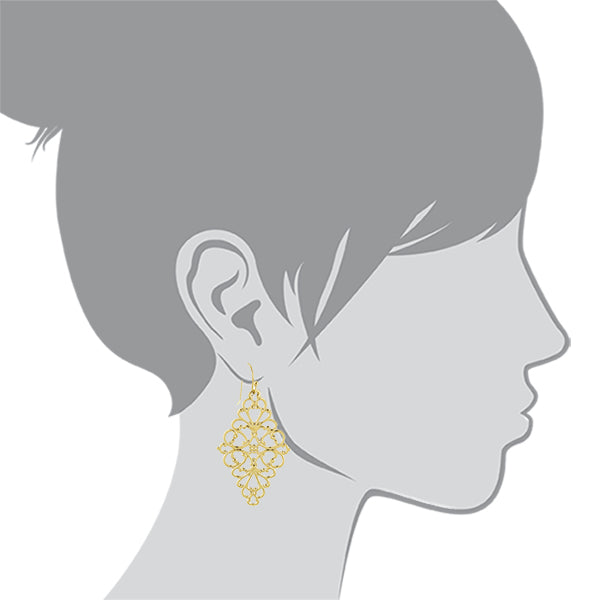 Filigree Diamond Shape Drop Earrings
