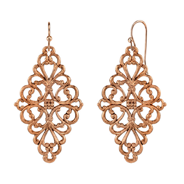 Filigree Diamond Drop Earrings Gold