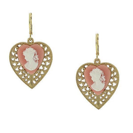 Fashion Jewelry - Gold-Tone Pink Cameo Heart Overlay Filigree Earrings