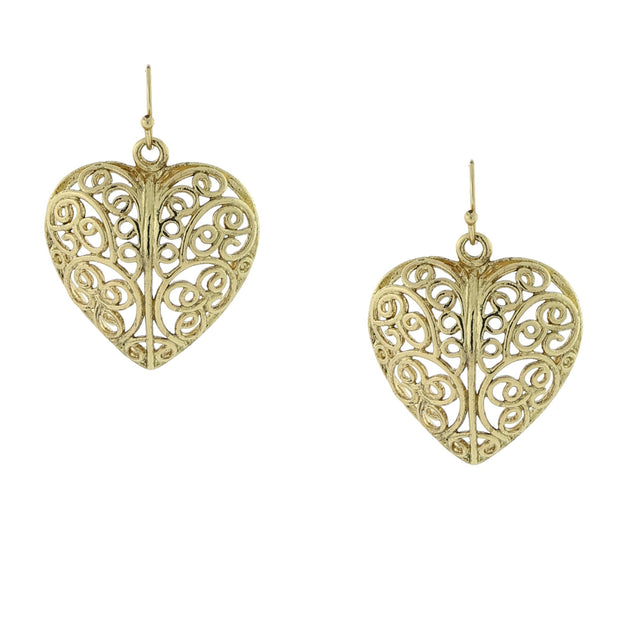 Gold Tone Puffed Filigree Heart Earrings