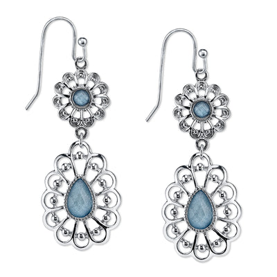 Silver-Tone Filigree Blue Drop Earrings