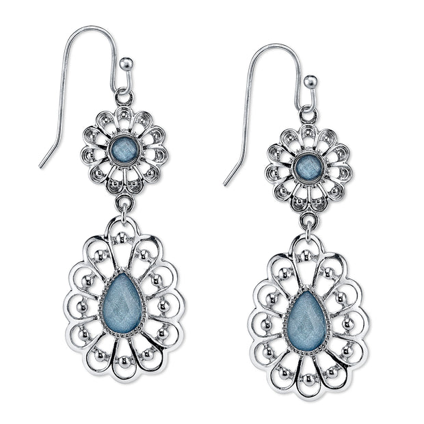Silver Tone Filigree Blue Drop Earrings