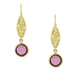 14k Gold-Dipped Amethyst Purple Genuine Swarovski Crystal Drop Earrings
