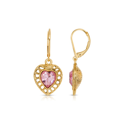 14K Gold Dipped Pink Genuine Swarovski Crystal Heart Drop Earrings