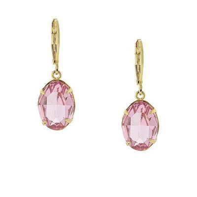 14K Gold Dipped Pink Genuine Swarovski Crystal Oval Drop Earrings