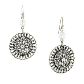 Silver-Tone Crystal Round Clip On Drop Earrings
