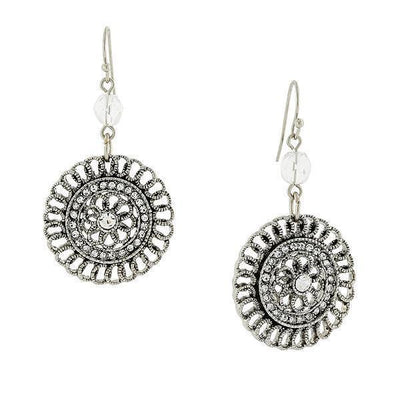 Silver Tone Crystal Round Drop Earrings