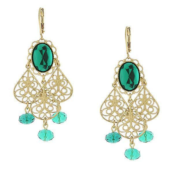 Gold-Tone Green Crystal Filigree Drop Earrings
