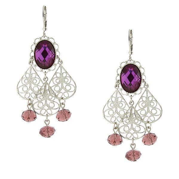 Silver-Tone Purple Crystal Filigree Drop Earrings