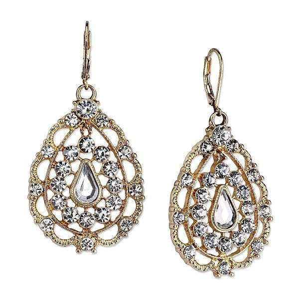 Gold Tone Crystal Filigree Pearshape Drop Earrings