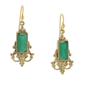 Gold-Tone Green Drop Earrings