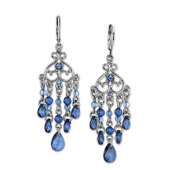Fashion Jewelry - 2028 Silver-Tone Blue Chandelier Earrings