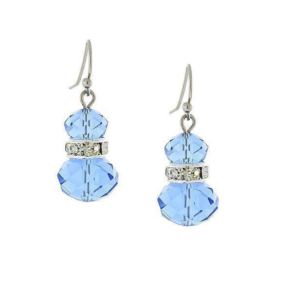 Silver-Tone Lt. Blue With Crystal Accent Drop Earrings