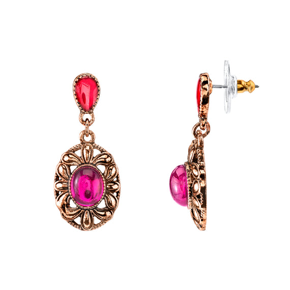 Copper-Tone Fuchsia Oval Drop Earrings