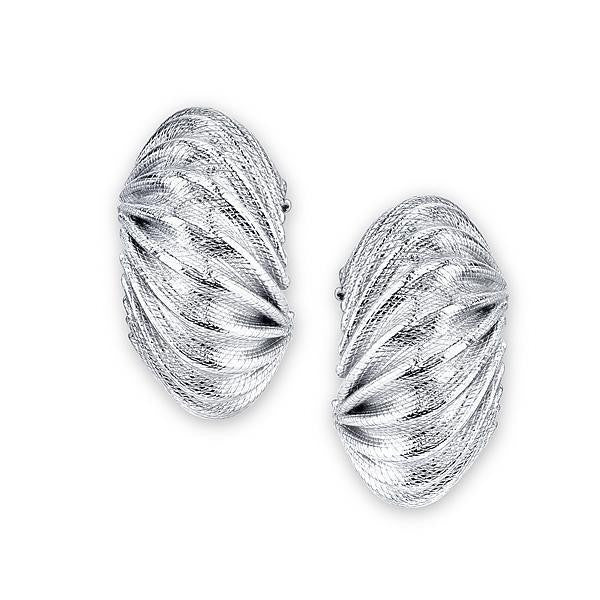 Silver-Tone Corrugated Post Earrings