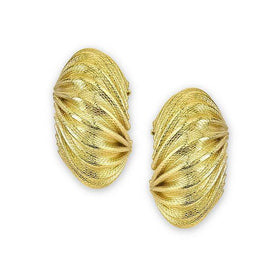 Gold Tone Corrugated Post Earrings