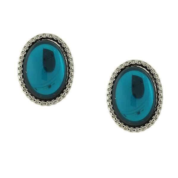 Silver Tone Blue Oval Button Earrings