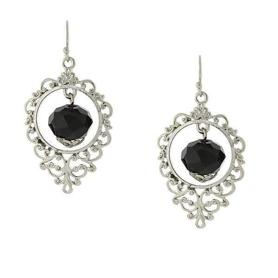 Silver-Tone Black Caged Drop Earrings