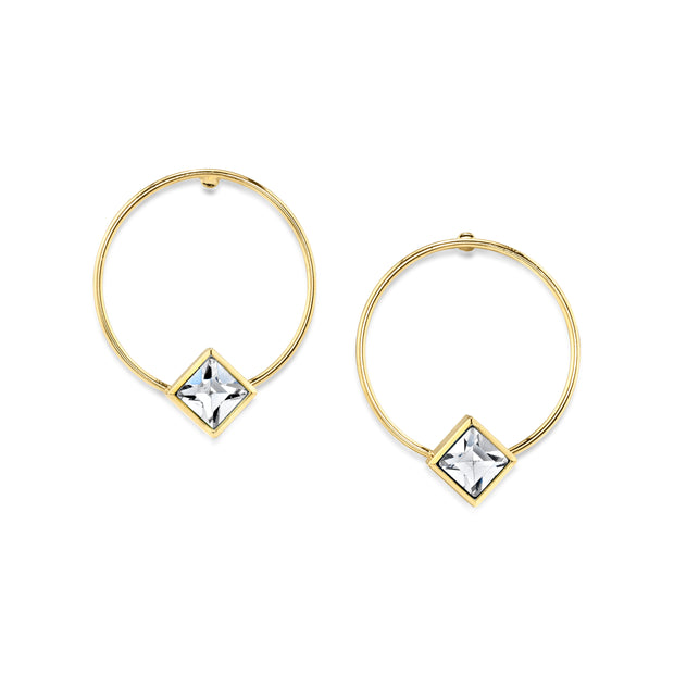 14K Gold Dipped Diamond Shape Crystal Stainless Steel Dainty Round Hoop Post Earrings