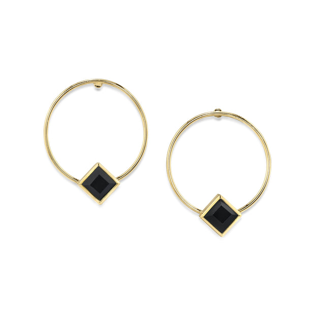 14K Gold Dipped Diamond Shape Crystal Hoop Post Earring Black