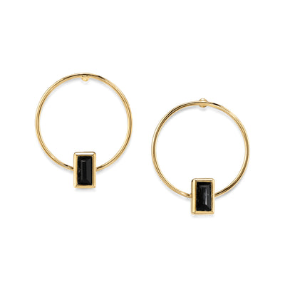 14K Gold Dipped Rectangle Crystal Hoop Stainless Steel Post Earring