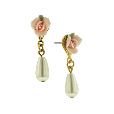 Gold-Tone Pink Porcelain Rose Costume Pearl Drop Earrings