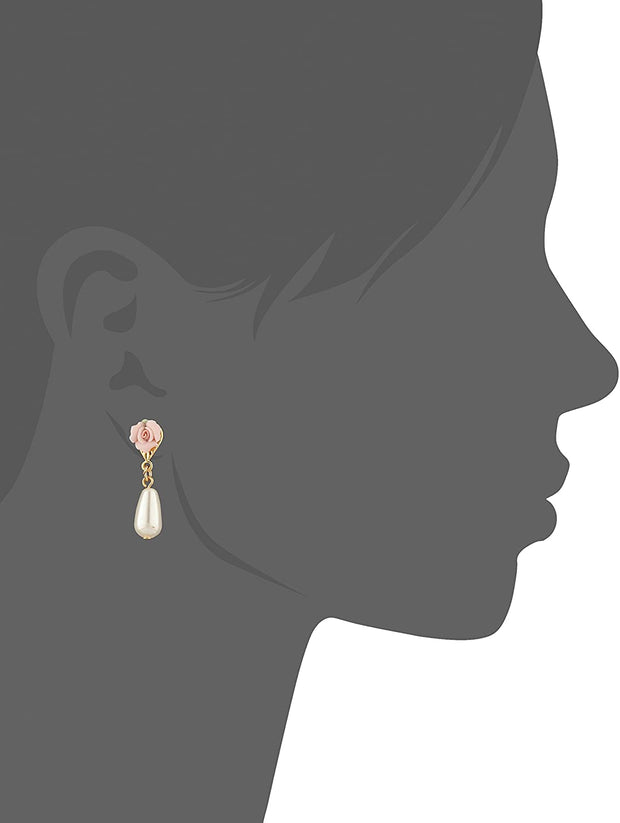 Gold Tone Pink Porcelain Rose Faux Pearl Drop Earrings