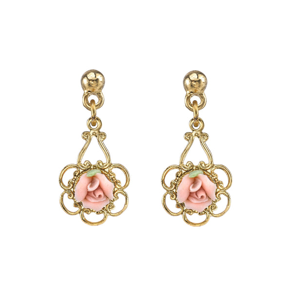 1928 Jewelry Gold-Tone Porcelain Rose Drop Earrings