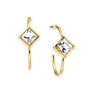 14K Gold Dipped Diamond Shape Crystal Open Hoop Stainless Steel Post Earring
