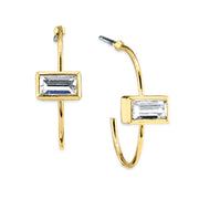 14K Gold Dipped Rectangle Crystal Open Hoop Stainless Steel Post Earring Pink