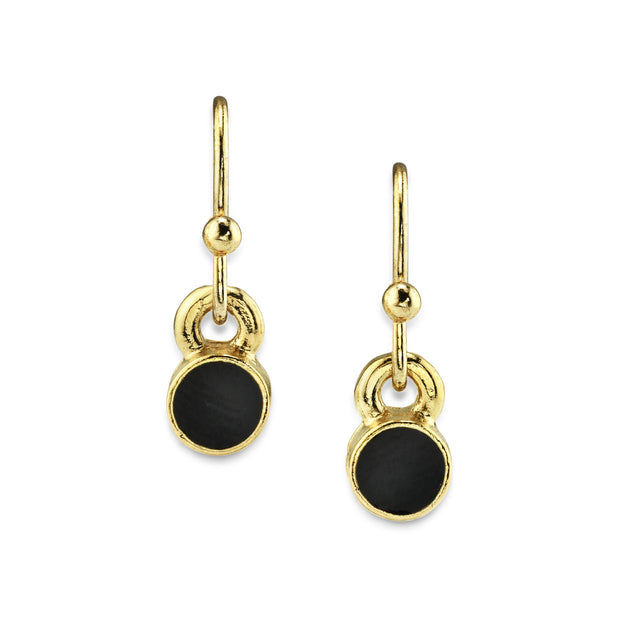 14K Gold Dipped Enamel Button Dainty Wire Drop Earring (Small)