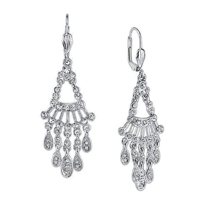 Silver Tone Crystal Chandelier Drop Earrings