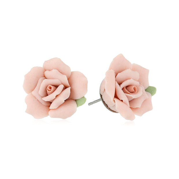 1928 Jewelry Pink Porcelain Rose Post Earrings