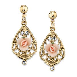 Gold-Tone Crystal and Pink Porcelain Rose Filigree Drop Earrings