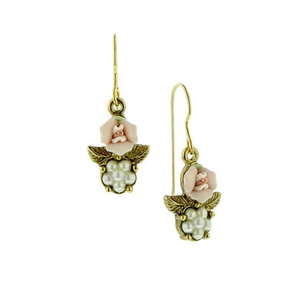 Pink Porcelain Rose With Leaves Costume Pearl Earrings