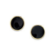 14K Gold Dipped Medium Round Enamel Button Earring Light Blue