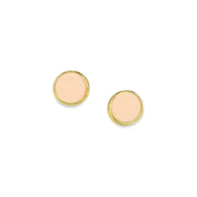 14K Gold Dipped Round Enamel Button Dainty Earring (Small) Orange