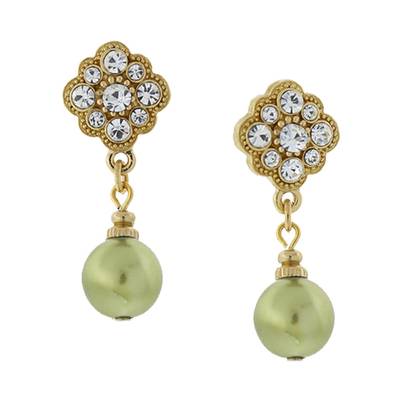 Gold-Tone Simulated Palm Green Pearl and Crystal Drop Earrings