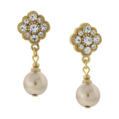 Gold Tone Costume Sandy Taupe Pearl And Crystal Drop Earrings