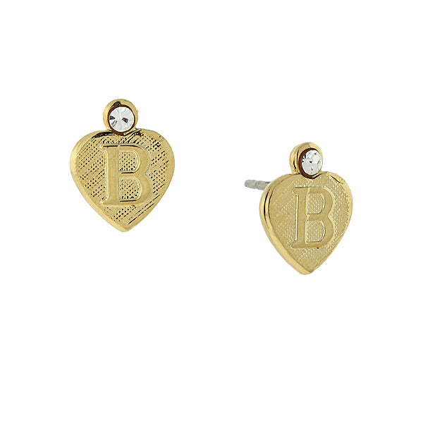 14K Gold Dipped Initial Heart Stud Earrings