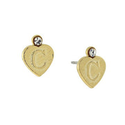 14K Gold Dipped Crystal Accent Initial Heart Stud Earrings C
