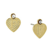 14K Gold Dipped Crystal Accent Initial Heart Stud Earrings F