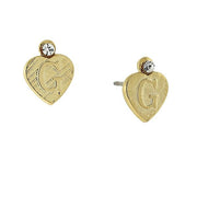 14K Gold Dipped Crystal Accent Initial Heart Stud Earrings G