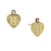 14K Gold Dipped Crystal Accent Initial Heart Stud Earrings