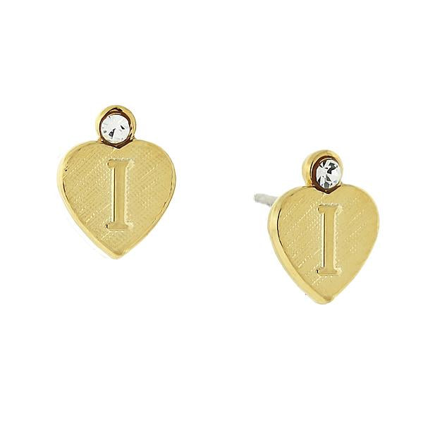 14K Gold Dipped Crystal Accent Initial Heart Stud Earrings I